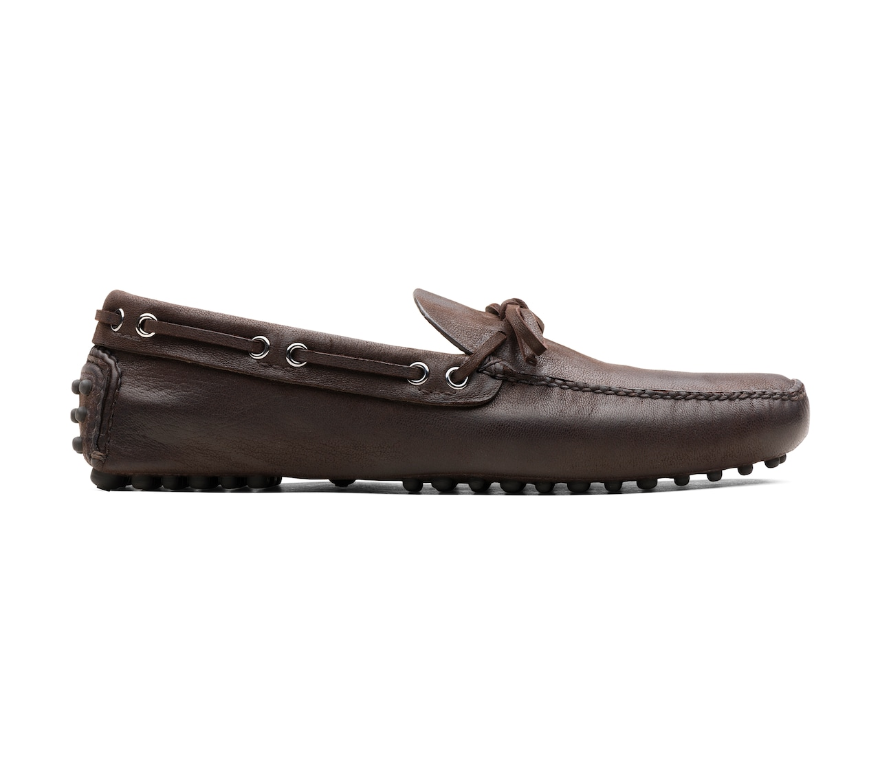 SOFT ANTIQUE GOAT LEATHER DRIVING SHOES BROWN