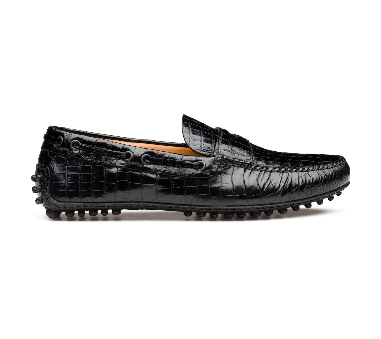 CROCO PRINTED LEATHER DRIVING SHOES BLACK