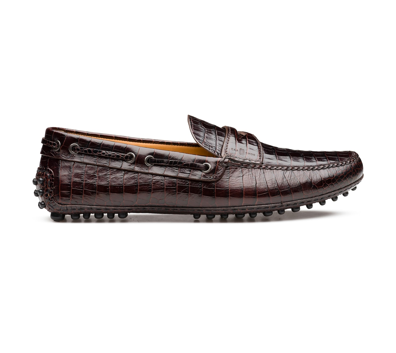 CROCO PRINTED LEATHER DRIVING SHOES BROWN