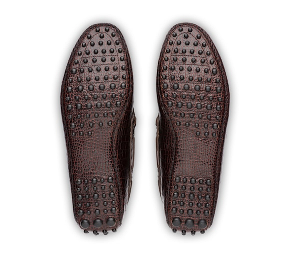 CROCO PRINTED LEATHER DRIVING SHOES
