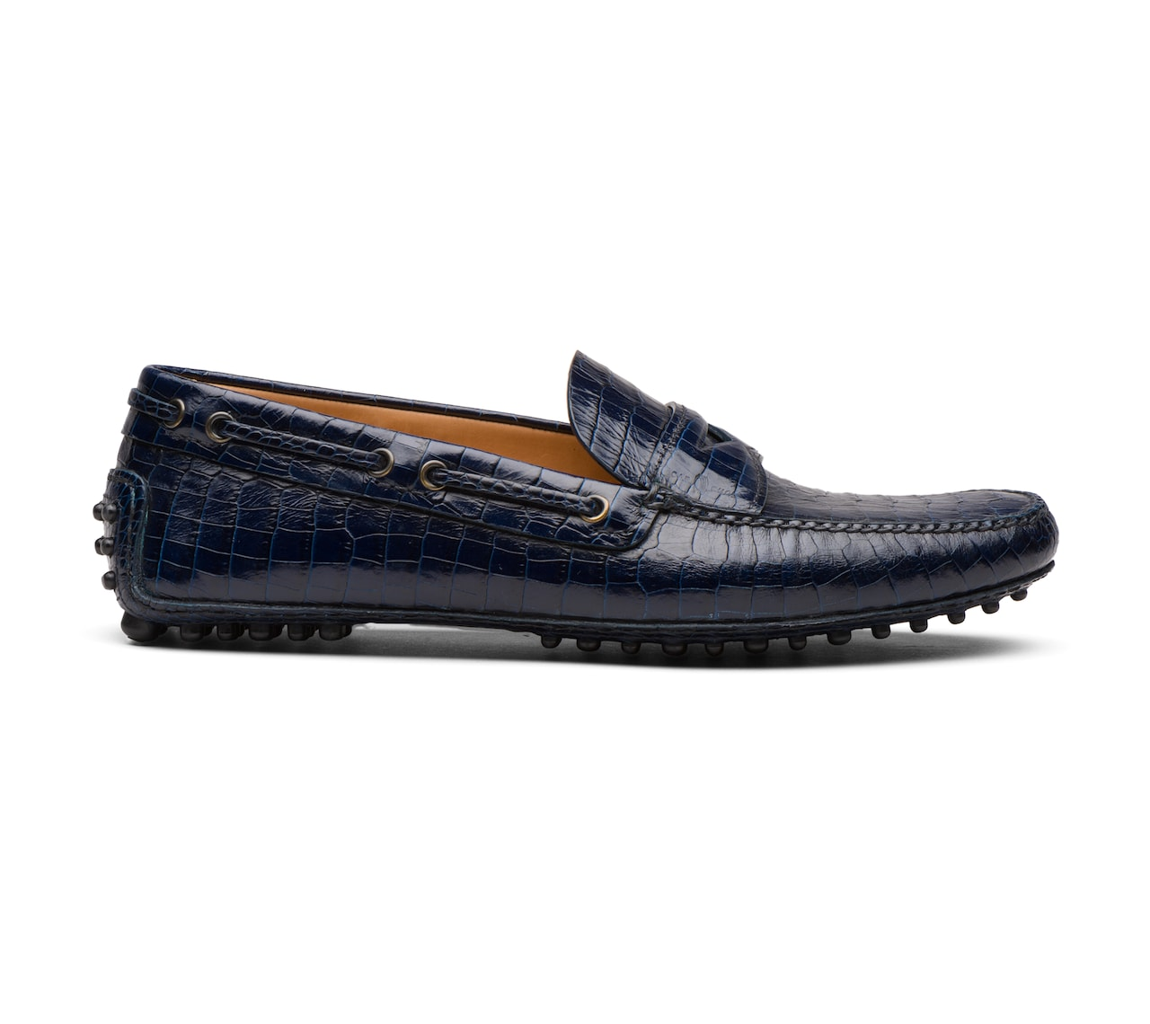 CROCO PRINTED LEATHER DRIVING SHOES BLUE